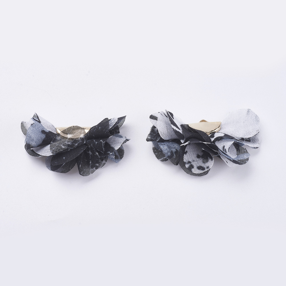 PandaHall Nylon Pendant Decorations, with Iron Findings, Flower, Light Gold, Black, 22~25x37~41x4~4.5mm, Hole: 1mm Nylon Flower Black