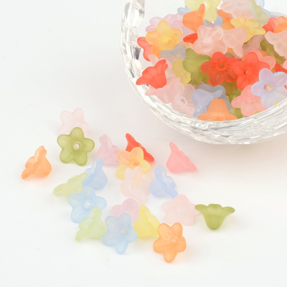 PandaHall_Mixed_Color_Frosted_Transparent_Acrylic_Flower_Beads_about_10mm_in_diameter_5mm_thick_hole12mm_Acrylic_Flower_Multicolor