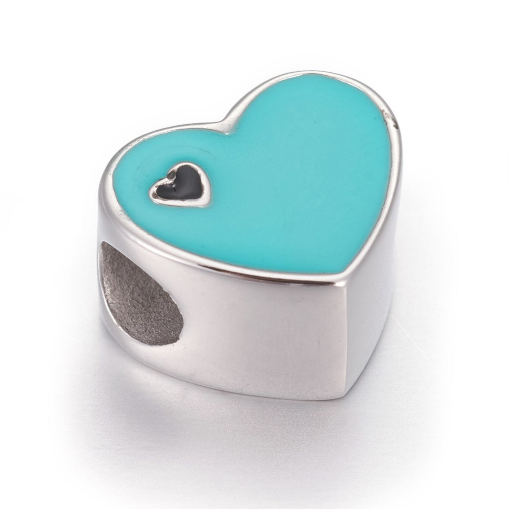 PandaHall_304_Stainless_Steel_European_Beads_with_Enamel_Large_Hole_Beads_Heart_Stainless_Steel_Color_Turquoise_10x12x7mm_Hole_45mm