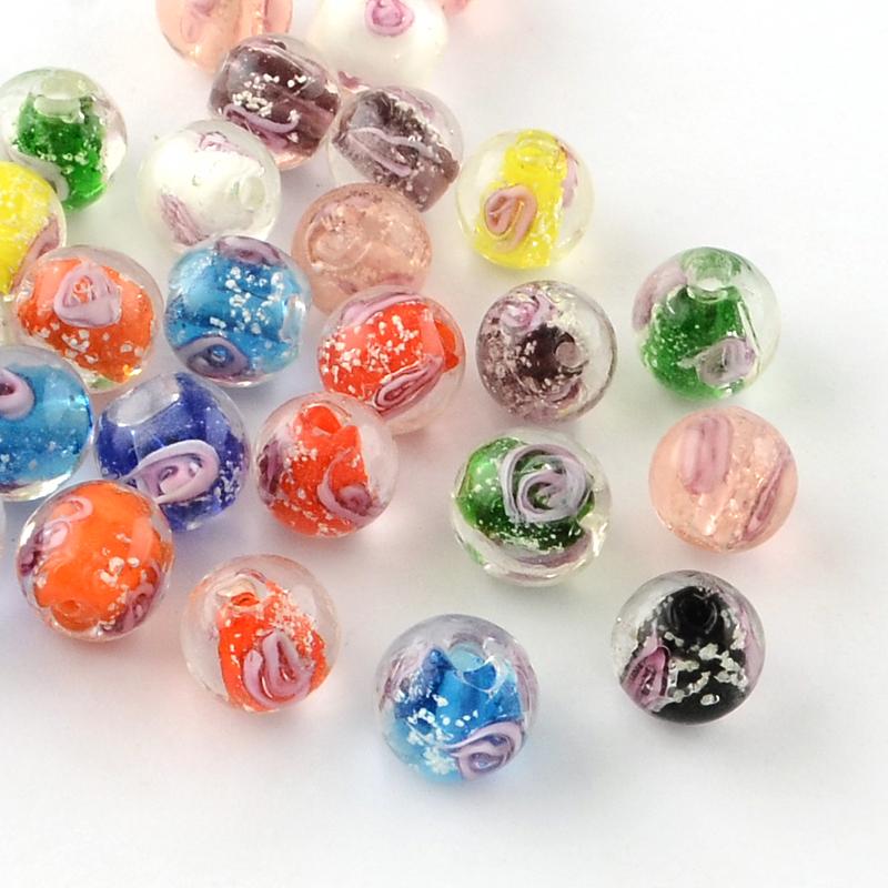 PandaHall_Handmade_Luminous_Inner_Flower_Lampwork_Beads_Round_Mixed_Color_12mm_Hole_2mm_Lampwork_Round_Multicolor