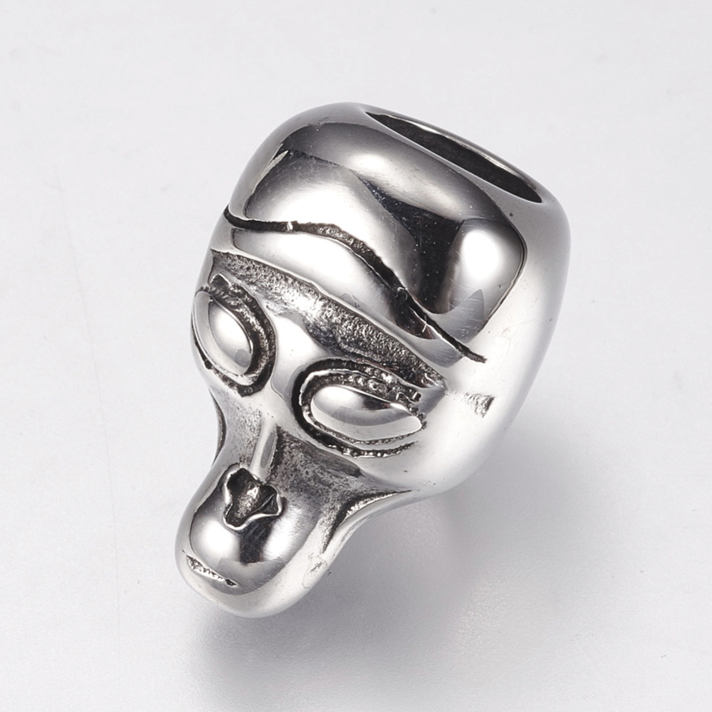 PandaHall_316_Stainless_Steel_Beads_Skull_Antique_Silver_16x11x11mm_Hole_6mm_Stainless_Steel_Skull