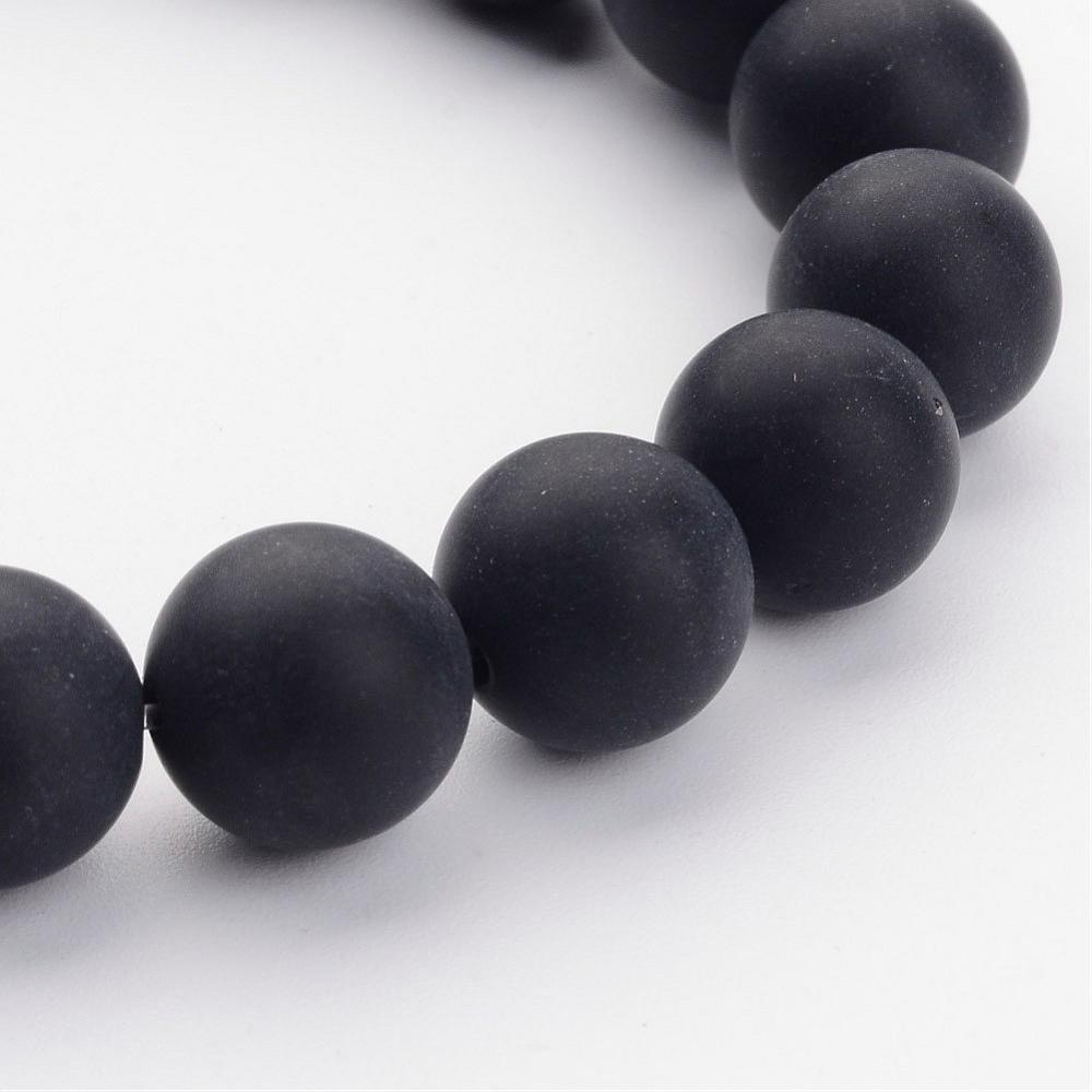 PandaHall_Grade_A_Round_Frosted_Black_Agate_Natural_Gemstone_Beads_Strands_10mm_Hole_1mm_about_39pcsstrand_16_Black_Agate_Round