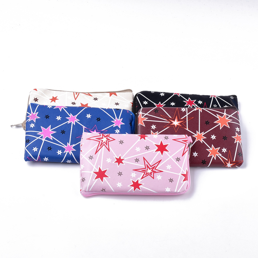 PandaHall PVC Clutch Bags, Change Purse, Mixed Pattern, Mixed Color, 153~155x87~90x15mm Plastic Multicolor (ABAG-S005-03A 1763046) photo