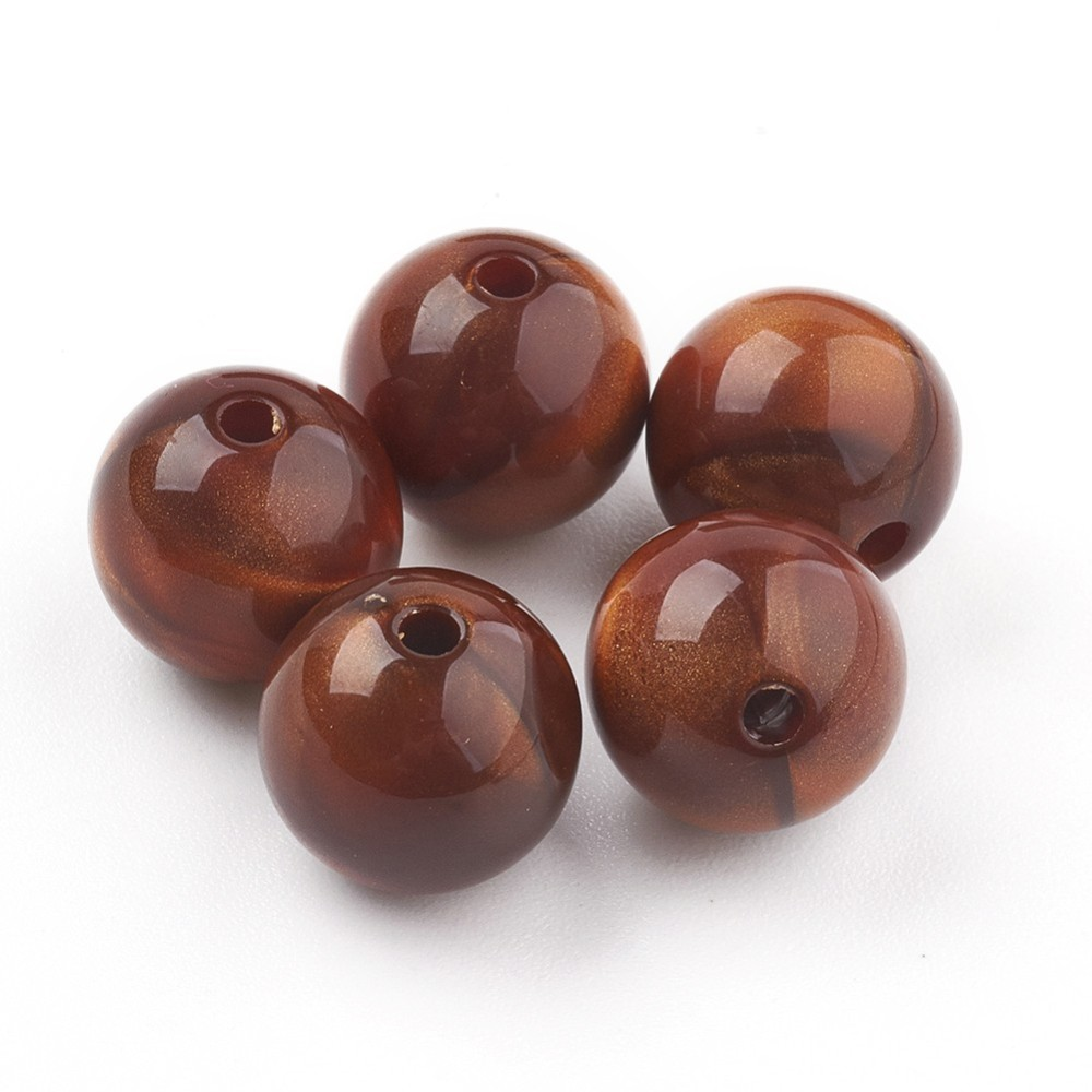 PandaHall_Acrylic_Beads_Imitation_Tiger_Eye_Beads_Round_Sienna_17~175mm_Hole_25mm_about_167pcs500g_Acrylic_Round_Brown