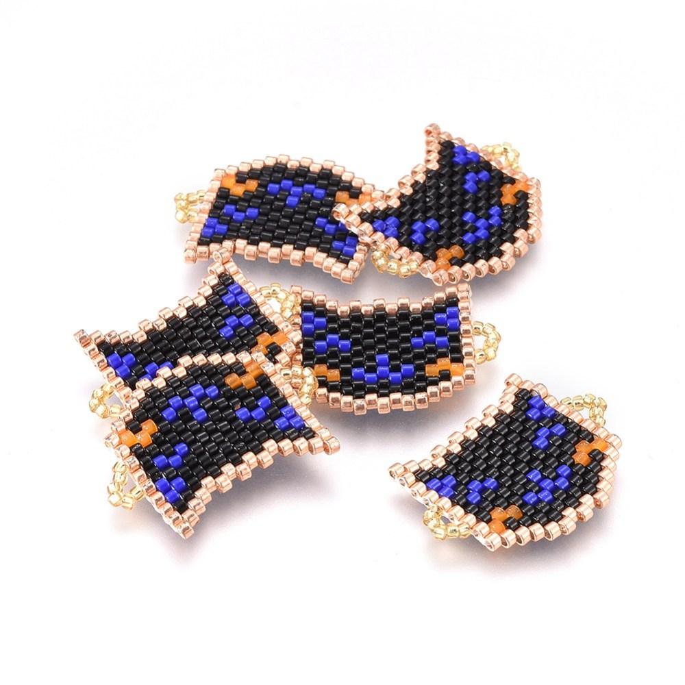 PandaHall_MIYUKI&reg_&_TOHO&reg_Handmade_Japanese_Seed_Beads_Links_Loom_Pattern_Cat_Black_20~21x25~26x17mm_Hole_2mm_Glass_Cat_Black