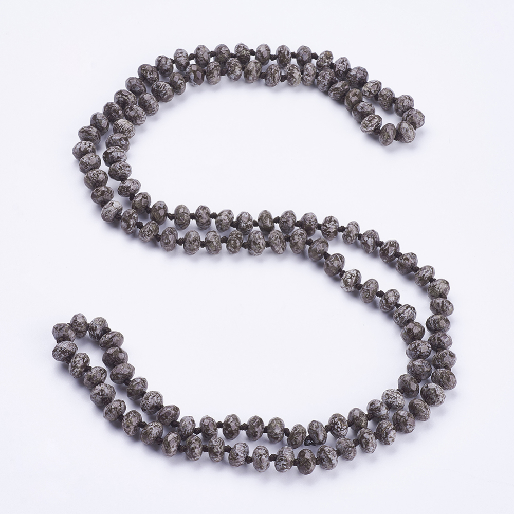 """PandaHall_Natural_Snowflake_Obsidian_Beaded_Multi-use_Necklaces_Wrap_Bracelets,_Three-Four_Loops_Bracelets,_Faceted,_Abacus,_37.4""""(95cm)..."""