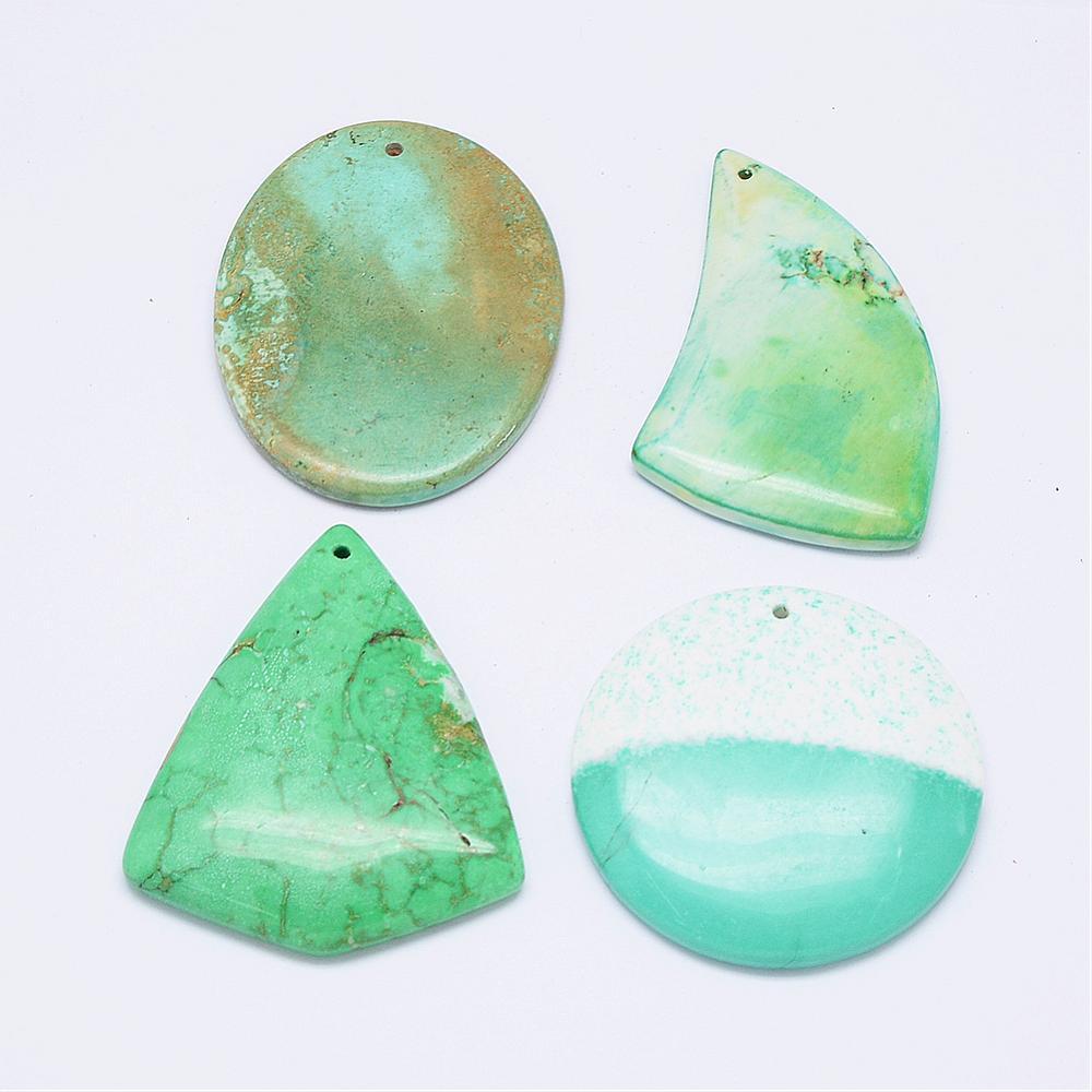 PandaHall_Natural_Turquoise_Pendants_Mixed_Shapes_Dyed_44~64x28~46x5~7mm_Hole_2mm_Natural_Turquoise_Mixed_Shapes_Green