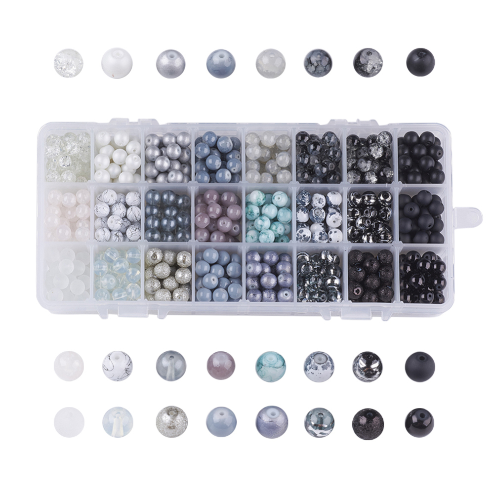 PandaHall_Mixed_Style_Glass_Beads_Dyed_Round_24_Colors_Gradient_Color_Gray_8~85mm_Hole_13~16mm_about_27~30pcscomparment