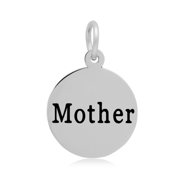PandaHall 316 Stainless Steel Enamel Pendants, Flat Round with Word Mother, ..