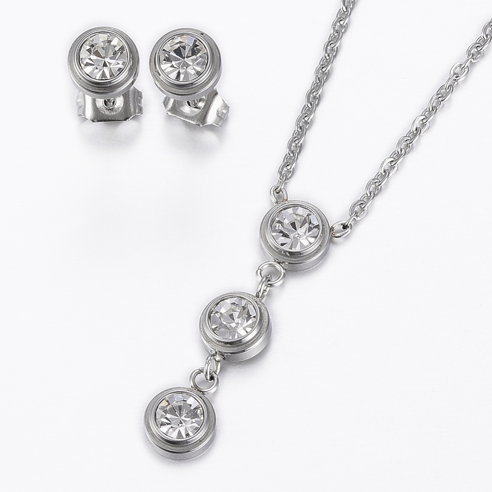 PandaHall 304 Stainless Steel Jewelry Sets, Stud Earrings and Pendant Necklaces, with Rhinestone, Flat Round, Stainless Steel Color, 17.72