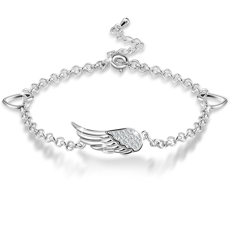 PandaHall_Environmental_Electroplate_Brass_Micro_Pave_Cubic_Zirconia_Link_Bracelets_Wing_Platinum_718180mm_Brass