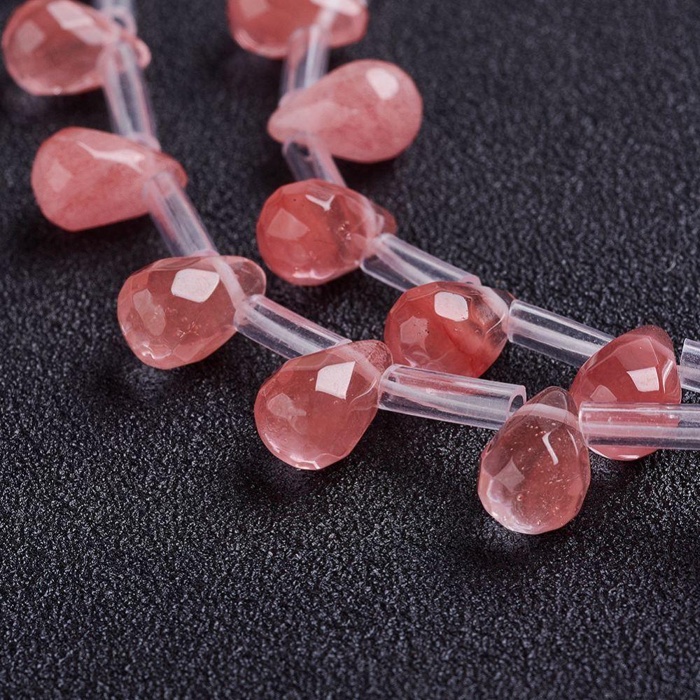 PandaHall_Cherry_Quartz_Glass_Beads_Strands_Drop_Faceted_9x6mm_Hole_1mm_about_38~44pcsstrand_161~18141~46cm_Cherry_Quartz