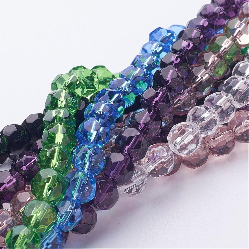 PandaHall_Glass_Beads_Strands_Faceted_Round_Mixed_Color_about_8mm_in_diameter_hole_about_1mm_about_40pcsstrand_10strandsbag_Glass