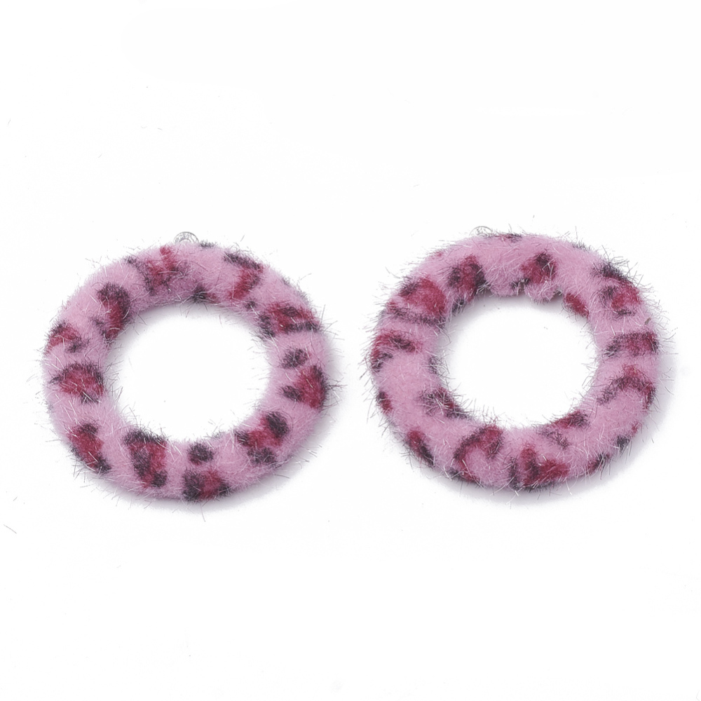 PandaHall_Imitation_Mink_Fur_Covered_ Pendants_with_Aluminum_Bottom_Ring_PearlPink_40x355x45mm_Hole_1mm_Cloth_Ring_Pink