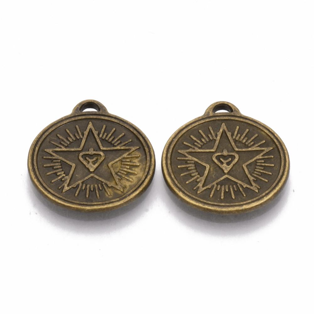 PandaHall_Tibetan_Style_Alloy_Pendants_Cadmium_Free_&_Nickel_Free_&_Lead_Free_Flat_Round_with_Star_Antique_Bronze_23x20x15mm_Hole