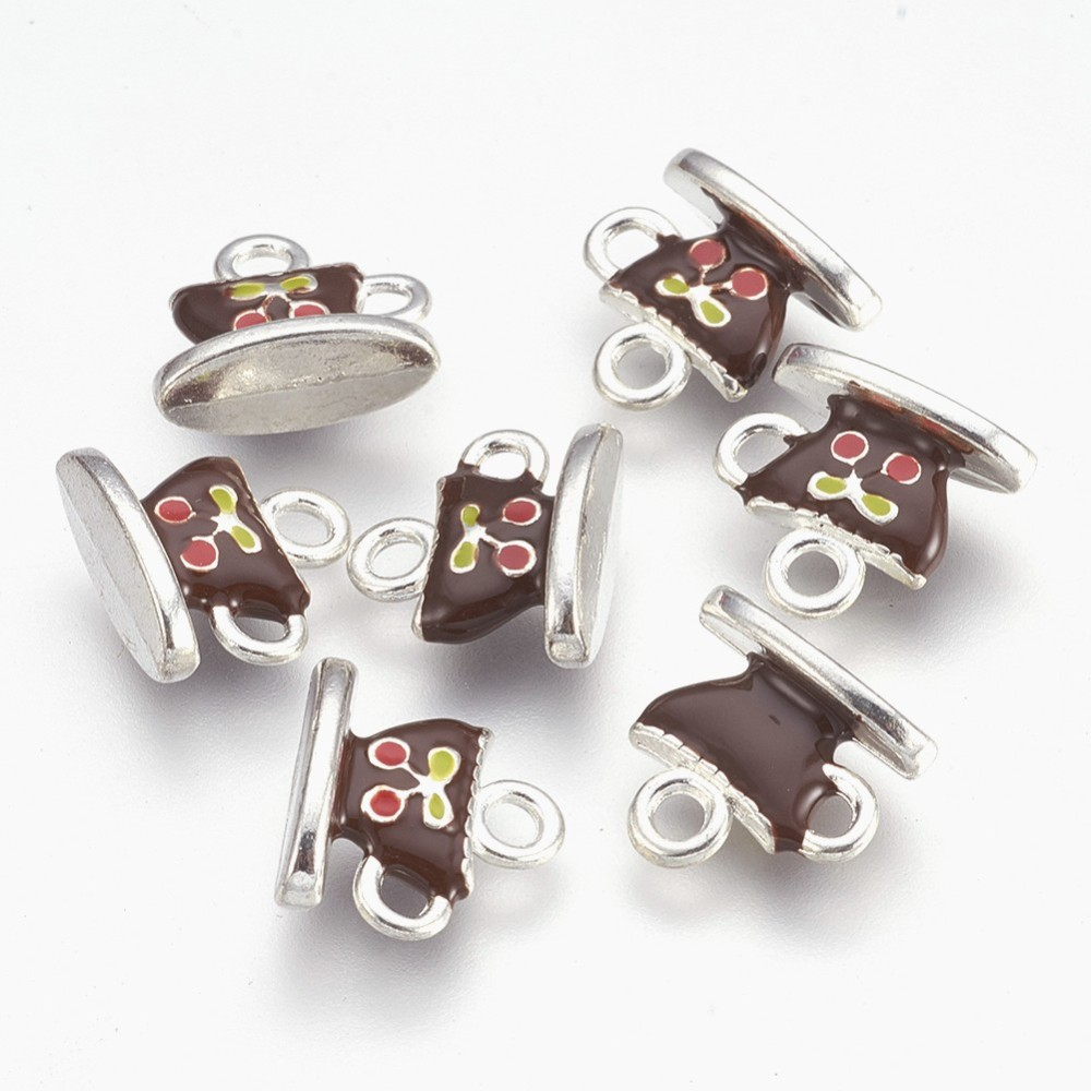 PandaHall Alloy Enamel Charms, Lead Free and Cadmium Free, Cup with Saucer, ..