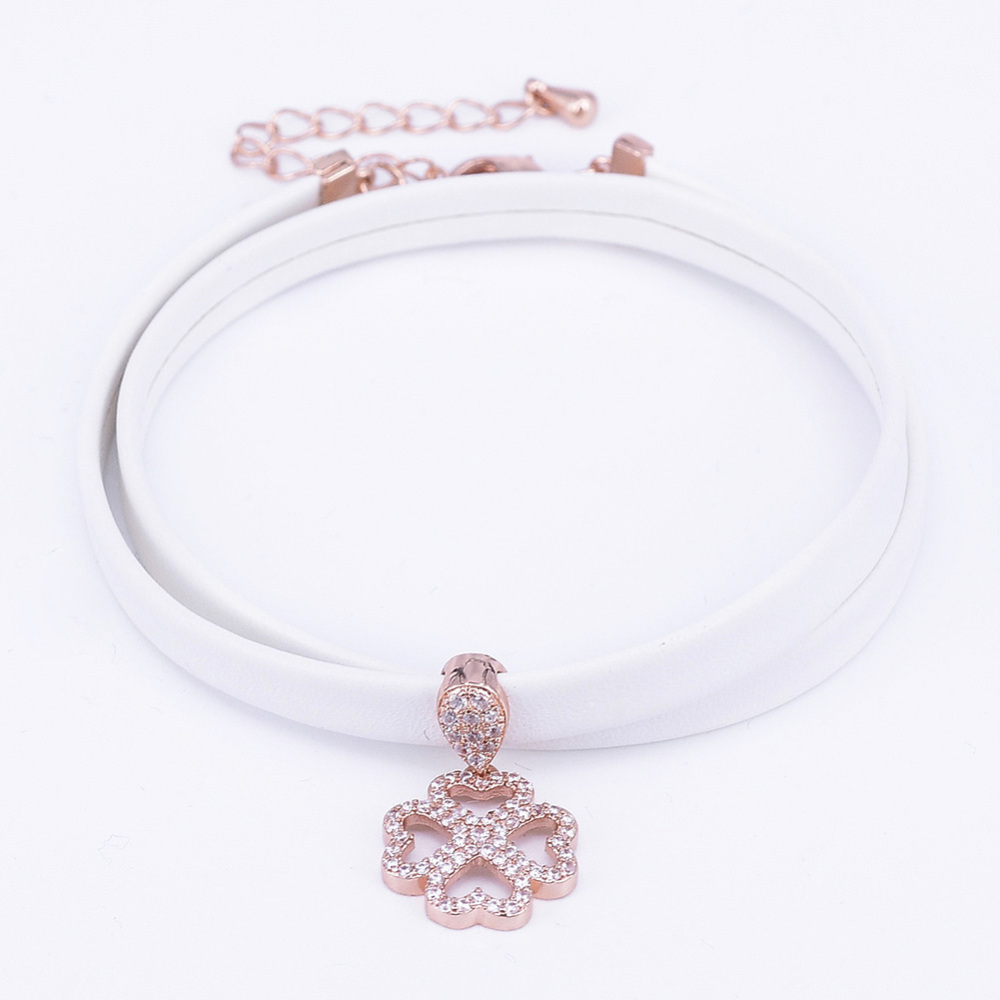 PandaHall PU Leather Cord Choker Necklaces, with Brass Micro Pave Cubic Zirc..