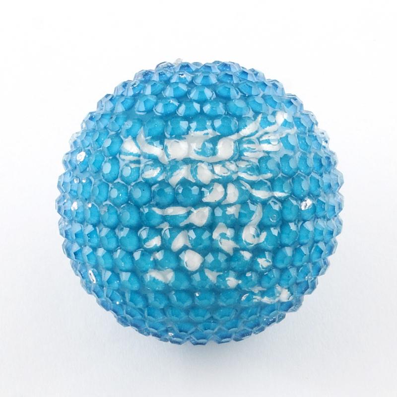 PandaHall_Round_Resin_Rhinestone_Beads_with_Acrylic_Beads_Inside_and_Eagle_Pattern_DodgerBlue_36mm_Hole_3mm_ResinRhinestone_Round_Blue