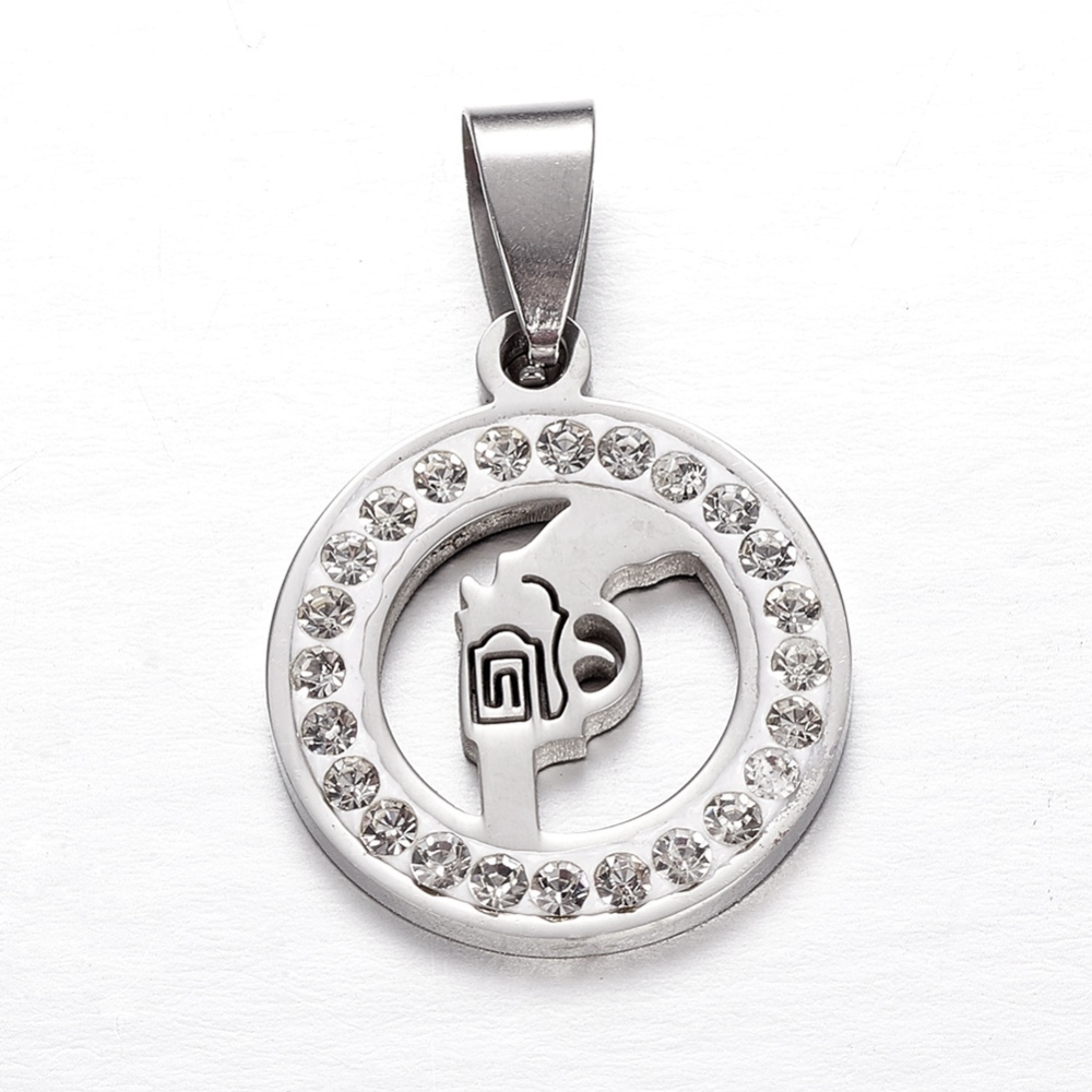 PandaHall_Stainless_Steel_Pendants_with_Rhinestone_Gun_in_Round_Stainless_Steel_Color_31x20x25mm_Hole_85x5mm_Stainless_Steel_Flat
