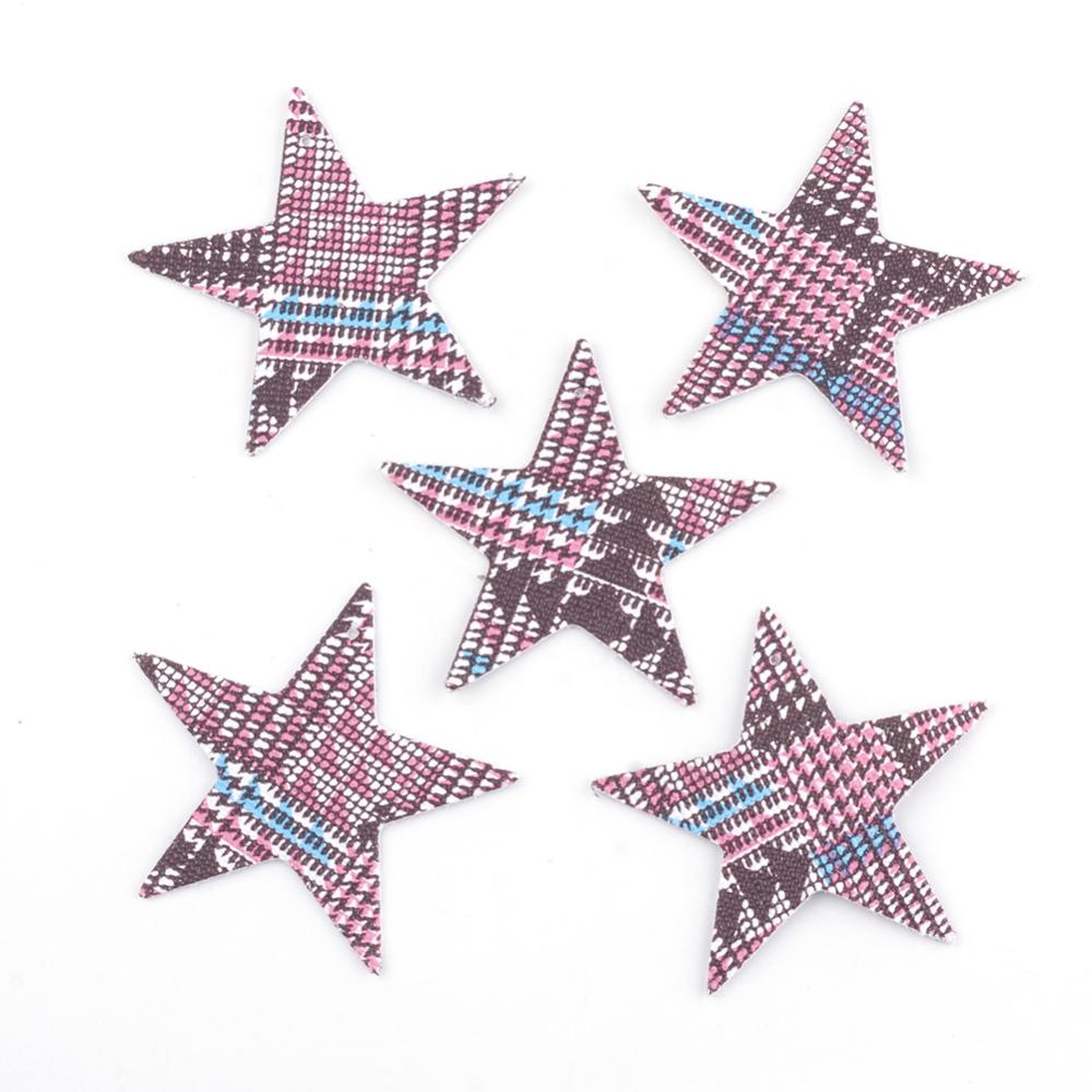 PandaHall_PU_Leather_Big_Pendants_Star_Pink_47x515x1mm_Hole_15mm_Imitation_Leather_Star_Pink