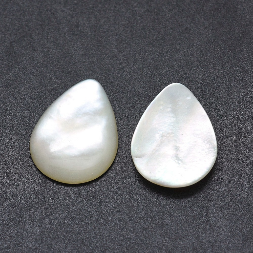 PandaHall_Shell_Cabochons_Drop_White_18x13x3mm_Shell_Drop_White