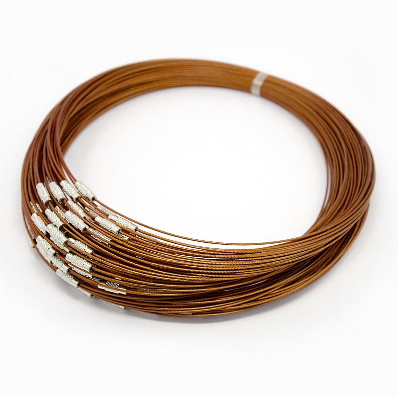 PandaHall Steel Wire Necklace Cord, Nice for DIY Jewelry Making, with Brass ..
