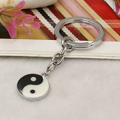 PandaHall Platinum Tone Alloy Enamel Great Ultimate Key Chains, with Alloy K..