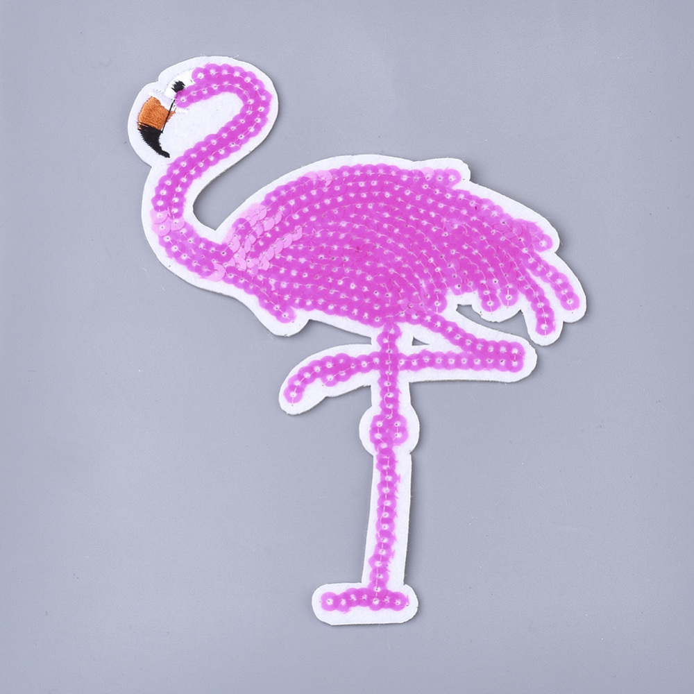 PandaHall_Computerized_Embroidery_Cloth_Iron_On_Patches_with_Paillette_Costume_Accessories_Appliques_Flamingo_Shape_Magenta