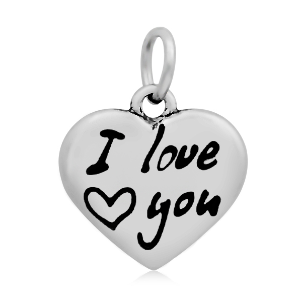 PandaHall 316 Stainless Steel Enamel Pendants, Heart with Word I Love You, S..