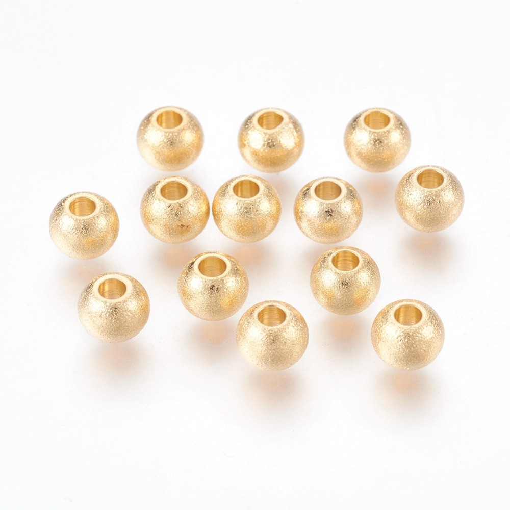 PandaHall_304_Stainless_Steel_Beads_Textured_Round_Golden_6x48mm_Hole_2mm_Stainless_Steel_Round