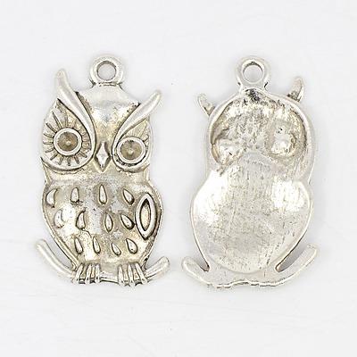 PandaHall Owl Alloy Pendant Cabochon Enamel Settings, Lead Free & Cadmium Fr..