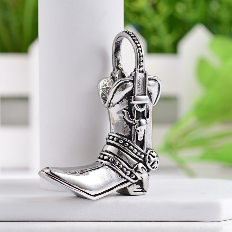 PandaHall_Boot_316_Stainless_Steel_Pendants_Antique_Silver_49x37x155mm_Hole_145mm_Stainless_Steel_Shoes