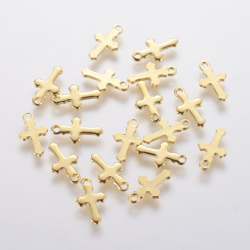 PandaHall_304_Stainless_Steel_Charms_Cross_Golden_12x7x1mm_Hole_12mm_Stainless_Steel_Cross