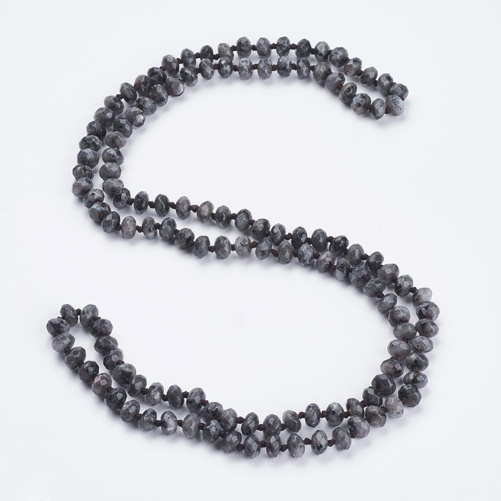 """PandaHall_Natural_Labradorite_Beaded_Multi-use_Necklaces_Wrap_Bracelets,_Three-Four_Loops_Bracelets,_Faceted,_Abacus,_37.4""""(95cm)..."""