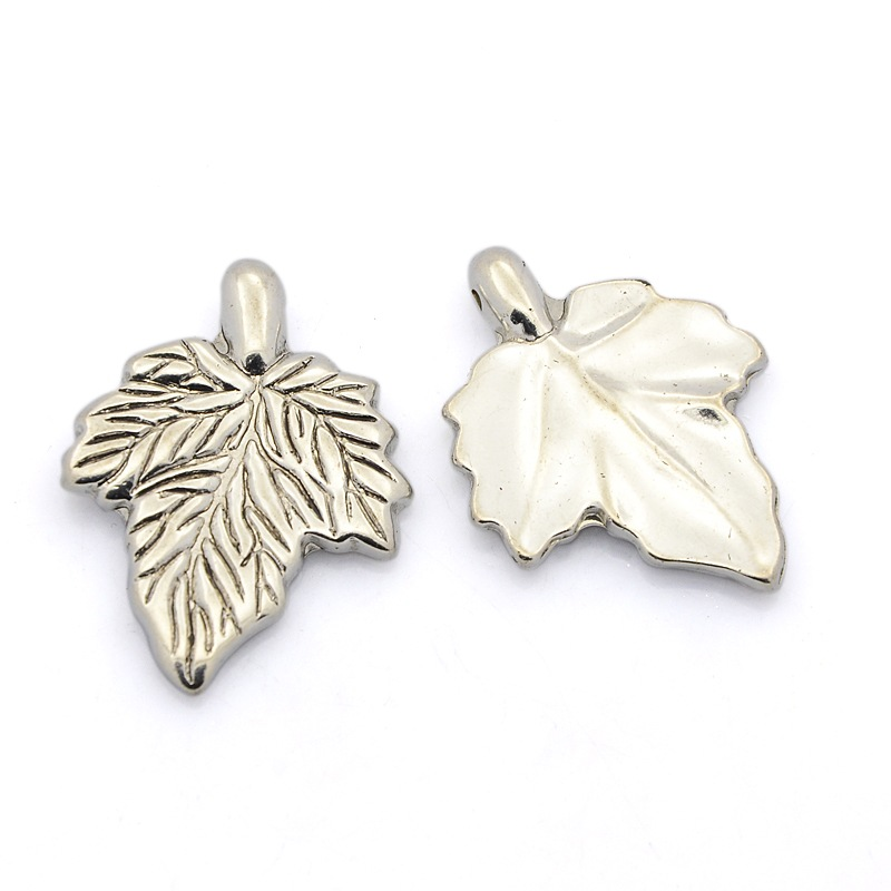 PandaHall_CCB_Plastic_Pendants_Maple_Leaf_Antique_Silver_36x27x4mm_Hole_2mm_Plastic_Leaf
