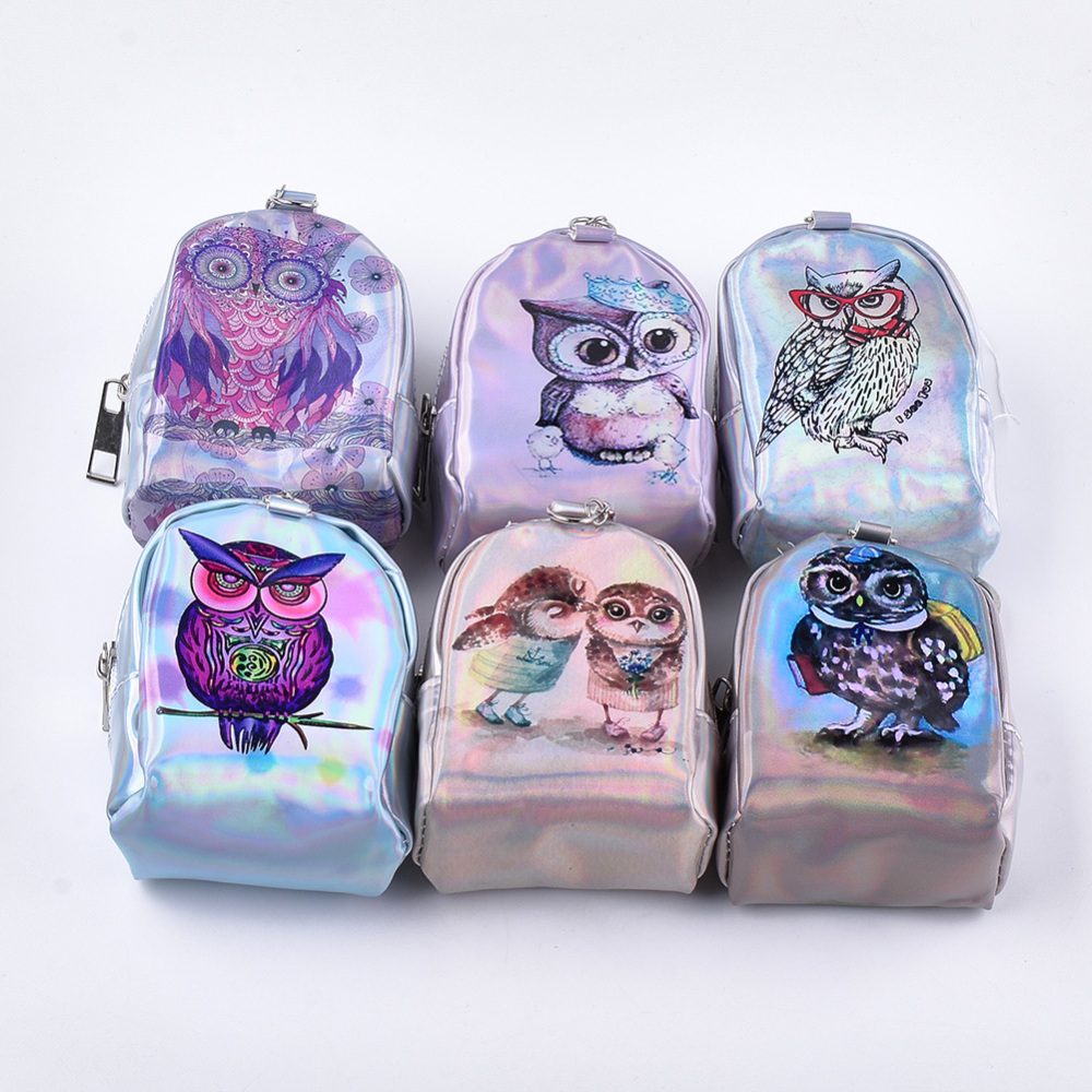 PandaHall Laser Shining Cloth Clutch Bags, Change Purse, with Iron Ring, Owl Pattern, Mixed Color, 95~98x74~76x52~54mm Cloth Multicolor (ABAG-S005-16 1762779) photo