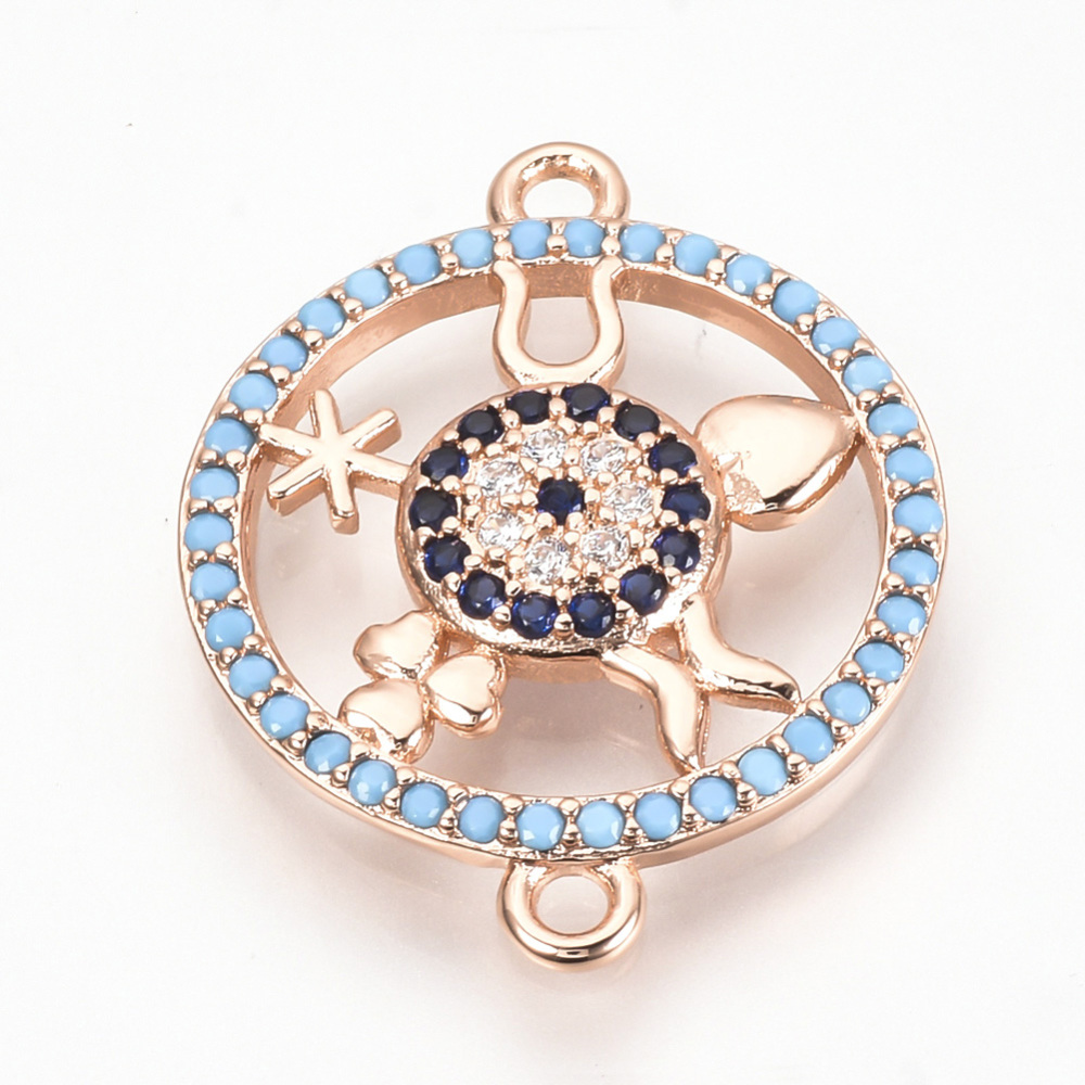 PandaHall_Brass_Micro_Pave_Cubic_Zirconia_Links_Hollow_Flat_Round_Colorful_Rose_Gold_235x185x3mm_Hole_15mm_BrassCubic_Zirconia
