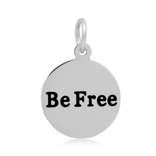 PandaHall 316 Stainless Steel Enamel Pendants, Flat Round with Word Be Free,..
