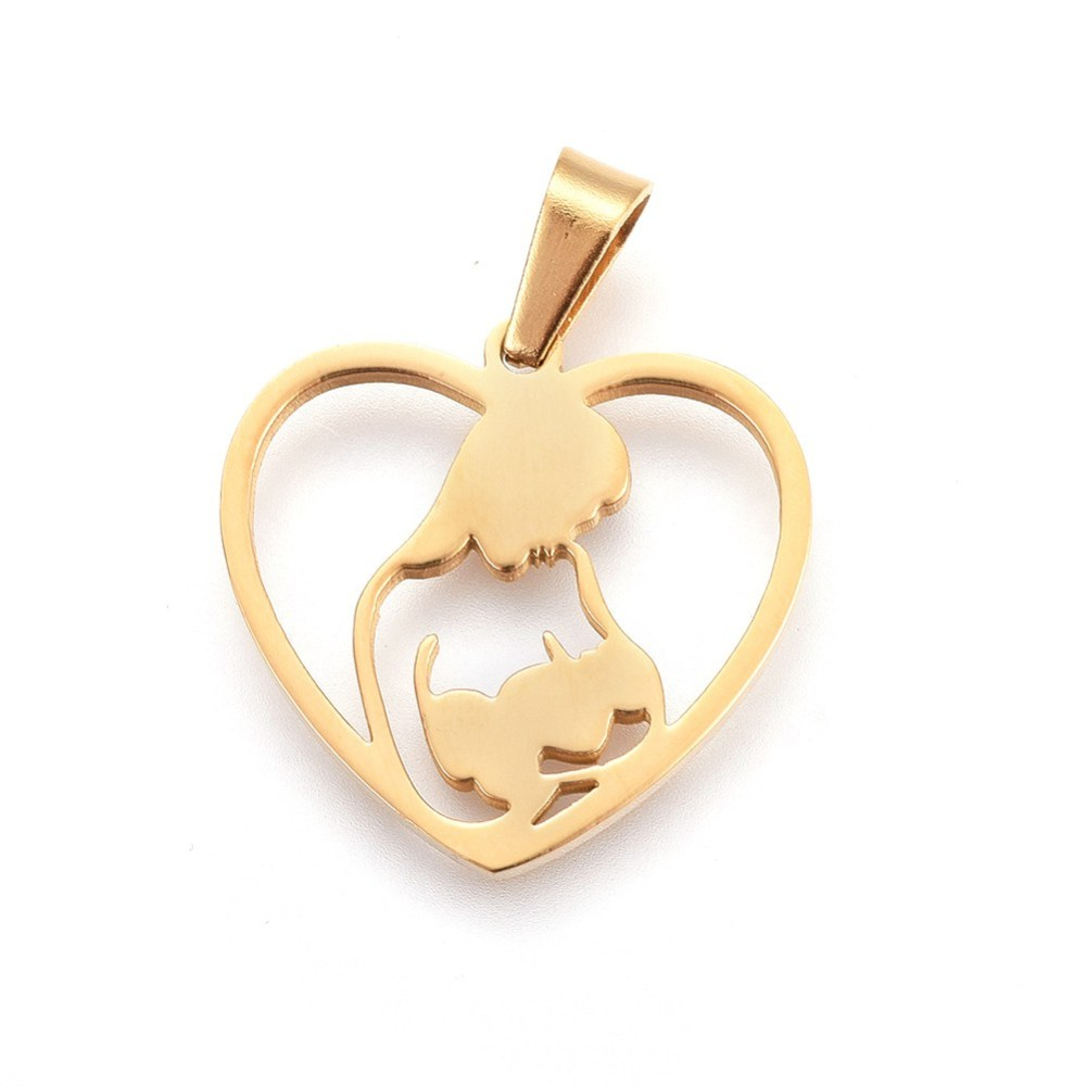 PandaHall_304_Stainless_Steel_Pendants_Heart_with_Mother_and_Baby_Golden_22x225x15mm_Hole_6x4mm_Stainless_Steel_Heart