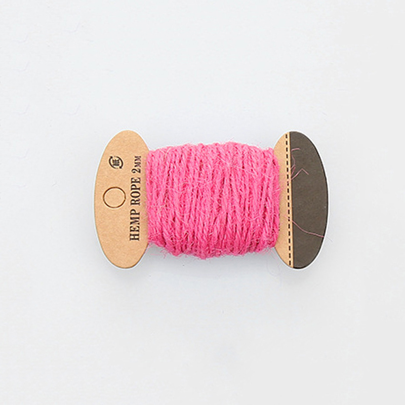 PandaHall Hemp Cord Twine String, 3 Ply, for Jewelry Making, HotPink, 2mm; 10m/board Hemp Pink