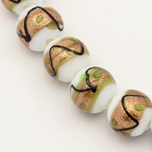 PandaHall Handmade Gold Sand Lampwork Beads Strands, Round, White, 10mm, Hol..