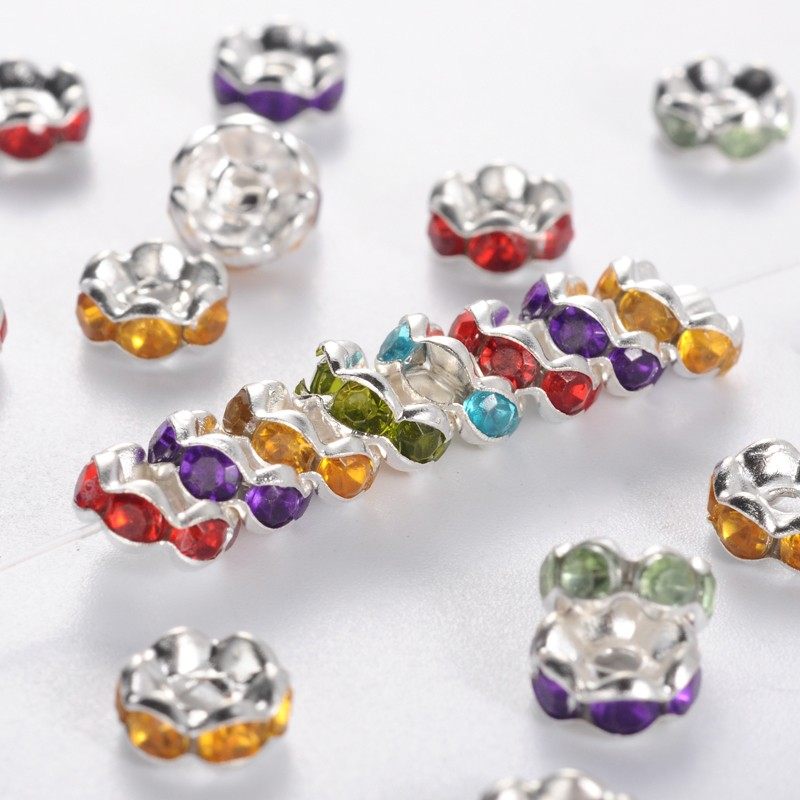 PandaHall_Brass_Acrylic_Rhinestone_Spacer_Beads_Wavy_Edge_Silver_Metal_Color_Rondelle_Mixed_Color_6x3mm_Hole_1mm_BrassAcrylic