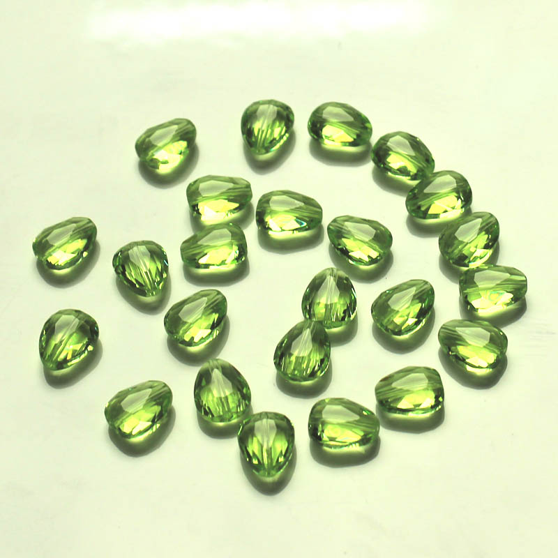 PandaHall_Imitation_Austrian_Crystal_Beads_Grade_AAA_Faceted_Drop_YellowGreen_12x9x35mm_Hole_09~1mm_Glass_Drop_Green