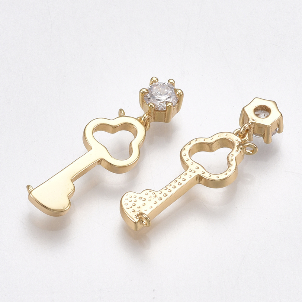 PandaHall_Brass_Links_with_Cubic_Zirconia_Key_Clear_Real_Gold_Plated_24x7x3mm_Hole_08mm_Brass_Key_Clear