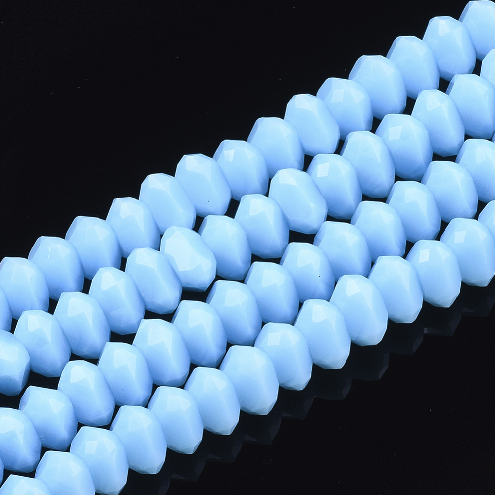 PandaHall_Solid_Color_Glass_Beads_Strands_Faceted_Triangle_SkyBlue_7~75x7~75x4~5mm_Hole_15mm_about_100pcsstrand_173~19_Glass