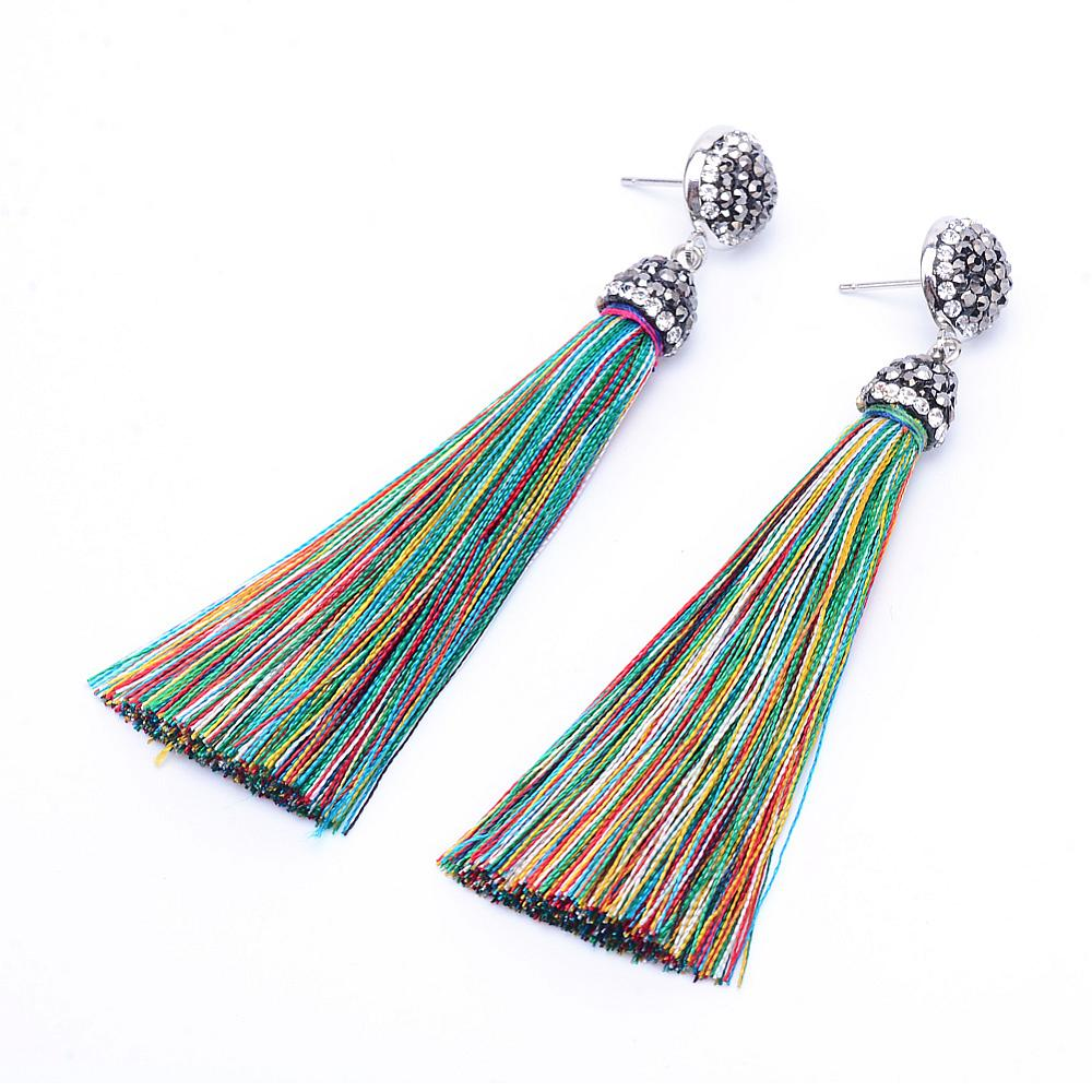 PandaHall_Nylon_Cord_Tassel_Stud_Earrings_with_Iron_Rhinestone_Finding_Colorful_85~88mm_pin_08mm_Nylon