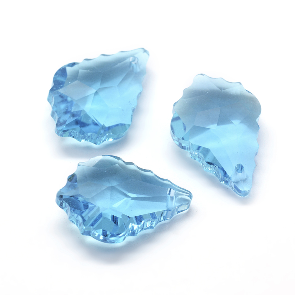 PandaHall Faceted Glass Pendants, Leaf, SkyBlue, 22x15.5x8.5mm, Hole: 1mm Glass Leaf Blue