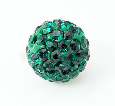PandaHall Polymer Clay Rhinestone Beads, Pave Disco Ball Beads, Grade A, Half Drilled, Round, Emerald, 6mm, Hole: 1.2mm Polymer Clay+Glass...