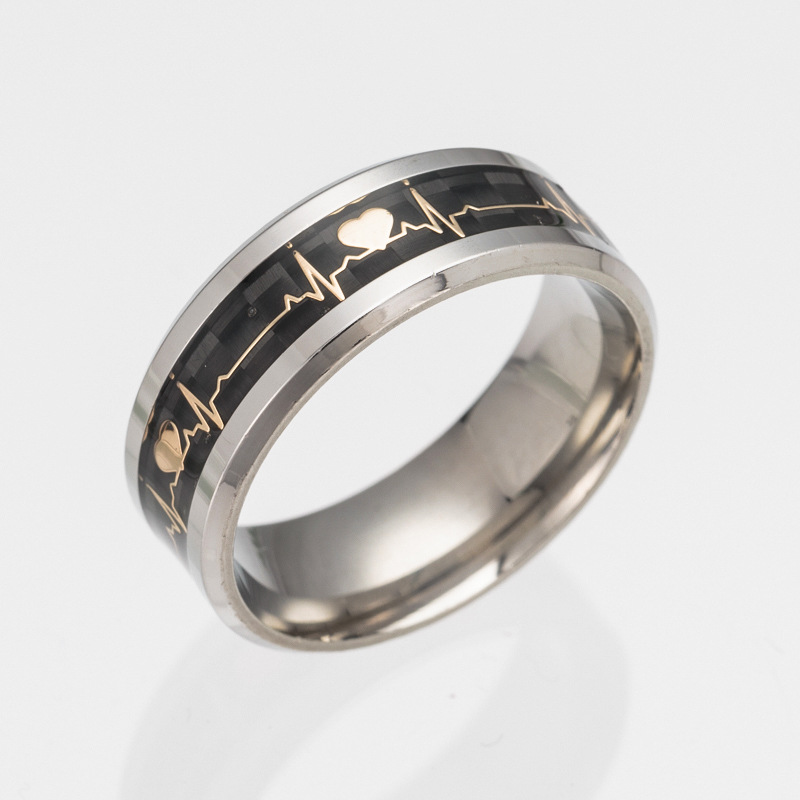 PandaHall_316L_Stainless_Steel_Wide_Band_Finger_Rings_with_Carbon_Fiber_ElectrocardiogramECG_Size_6_Stainless_Steel_Color_165mm
