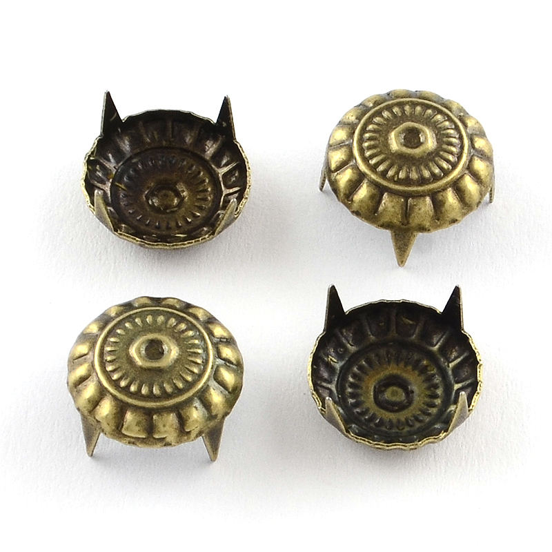 PandaHall Iron Rivets for Purse, Antique Bronze, 11x3mm Iron Flat Round